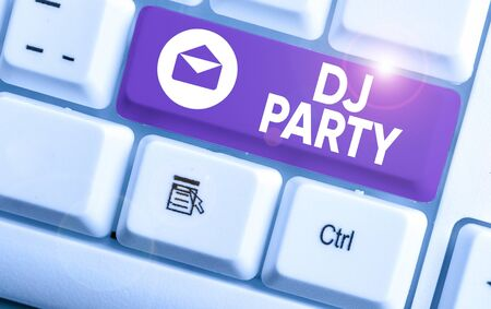 Text sign showing Dj Party. Business photo showcasing demonstrating who introduces and plays recorded popular music on radio