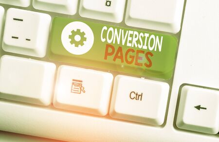 Text sign showing Conversion Pages. Business photo showcasing appears in response to clicking on a search engine