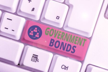 Text sign showing Government Bonds. Business photo text debt security issued by a government to support spending
