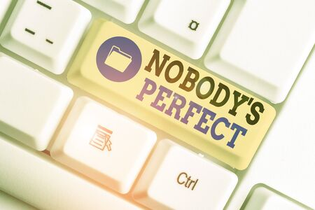Conceptual hand writing showing Nobody S Is Perfect. Concept meaning used to say that everyone makes mistakes or fault Zdjęcie Seryjne