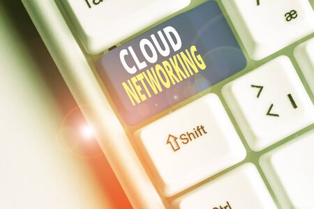 Word writing text Cloud Networking. Business photo showcasing sourcing and utilization of one or more network resources