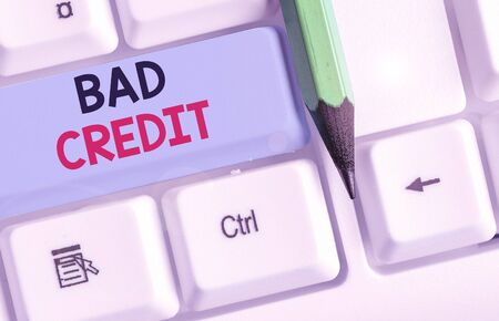 Conceptual hand writing showing Bad Credit. Concept meaning inability of a demonstrating or company to repay a debt on time