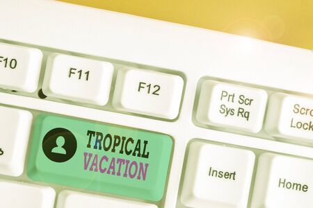Writing note showing Tropical Vacation. Business concept for taking a holiday in countries either side of the equator