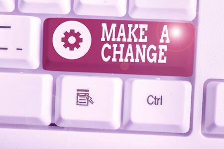 Text sign showing Make A Change. Business photo showcasing Create a Difference Alteration Have an Effect Metamorphose