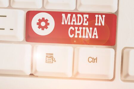 Text sign showing Made In China. Business photo showcasing Wholesale Industry Marketplace Global Trade Asian Commerce Zdjęcie Seryjne