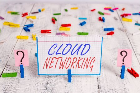 Conceptual hand writing showing Cloud Networking. Concept meaning sourcing and utilization of one or more network resources Crumbling sheet with paper clips placed on the wooden table