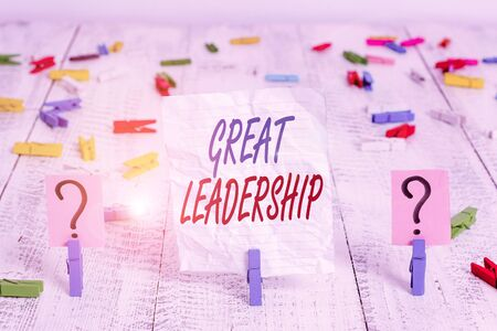 Handwriting text Great Leadership. Conceptual photo motivating showing to act towards achieving a common goal Scribbled and crumbling sheet with paper clips placed on the wooden table