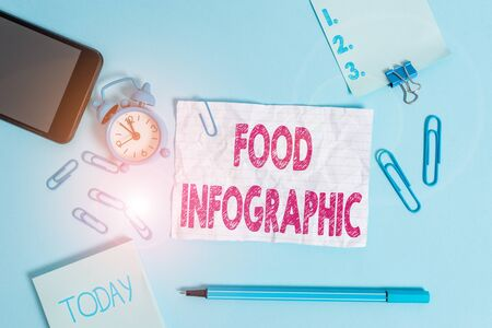 Text sign showing Food Infographic. Business photo showcasing visual image such as diagram used to represent information Alarm clock clips notepad smartphone rubber band marker colored background Archivio Fotografico - 135267689
