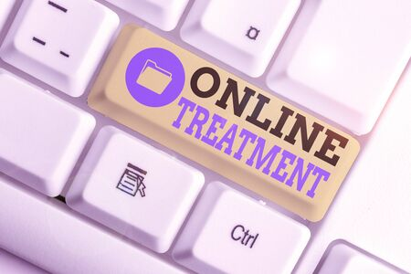 Conceptual hand writing showing Online Treatment. Concept meaning delivery of mental health counseling via the Internet Archivio Fotografico - 135270143
