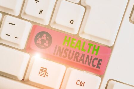 Text sign showing Health Insurance. Business photo text reimburse the insured for expenses incurred from illness Archivio Fotografico - 135270146