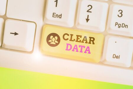 Text sign showing Clear Data. Business photo text act of removing unwanted data or information in a storage disk