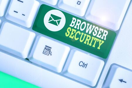 Handwriting text Browser Security. Conceptual photo security to web browsers in order to protect networked data