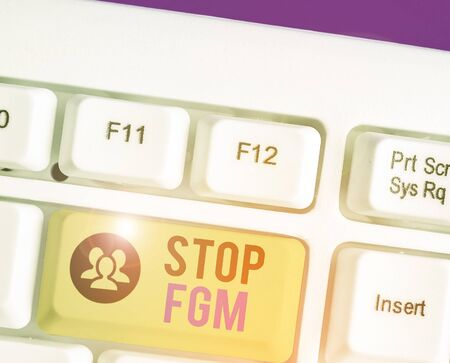 Conceptual hand writing showing Stop Fgm. Concept meaning Put an end or stop on genital cutting and circumcision Archivio Fotografico - 135270335