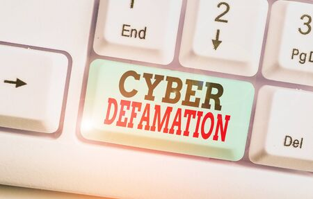 Text sign showing Cyber Defamation. Business photo text slander conducted via digital media usually by Internet