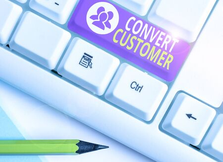 Word writing text Convert Customer. Business photo showcasing the percentage of visitors who take the desired action