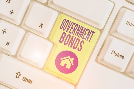 Handwriting text writing Government Bonds. Conceptual photo debt security issued by a government to support spending