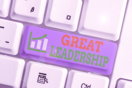 Word writing text Great Leadership. Business photo showcasing motivating showing to act towards achieving a common goal