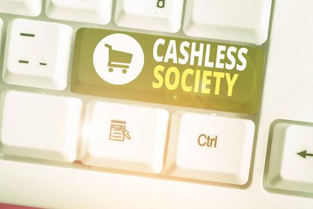Word writing text Cashless Society. Business photo showcasing financial transactions are executed in electronic format