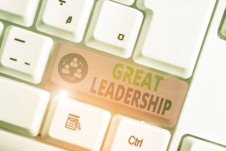 Text sign showing Great Leadership. Business photo text motivating showing to act towards achieving a common goal