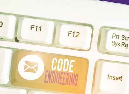 Writing note showing Code Engineering. Business concept for application of engineering to the development of software