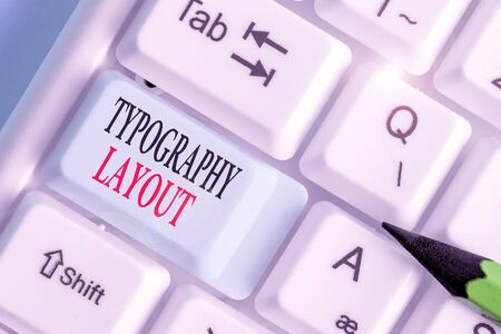 Writing note showing Typography Layout. Business concept for theory and practice of letter and typeface design