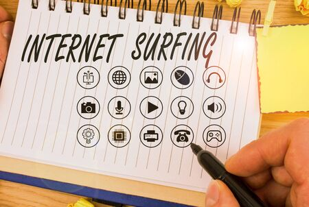 Handwriting text writing Internet Surfing. Conceptual photo browsing the Internet Navigating the world wide web