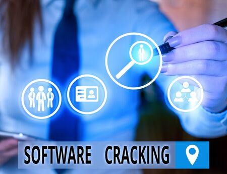 Text sign showing Software Cracking. Business photo text modification of software to remove or disable features