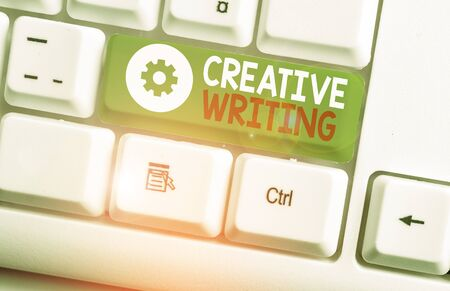Text sign showing Creative Writing. Business photo showcasing fiction or poetry which displays imagination or invention