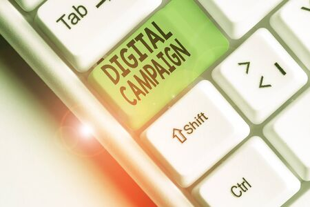 Writing note showing Digital Campaign. Business concept for effort put forward by a company to drive engagement