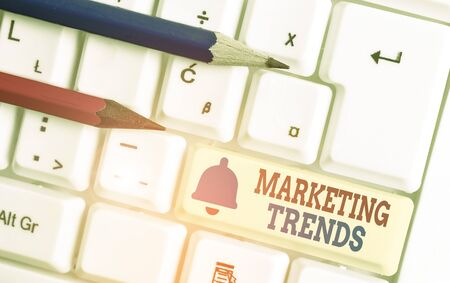 Word writing text Marketing Trends. Business photo showcasing changes and developments in trading in the market
