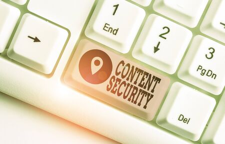Word writing text Content Security. Business photo showcasing the protection against deliberate threats to content Stock Photo