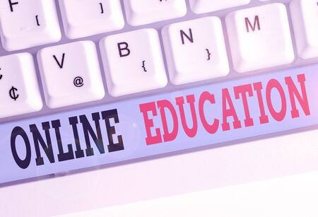Text sign showing Online Education. Business photo text kind of learning that takes place via the Internet