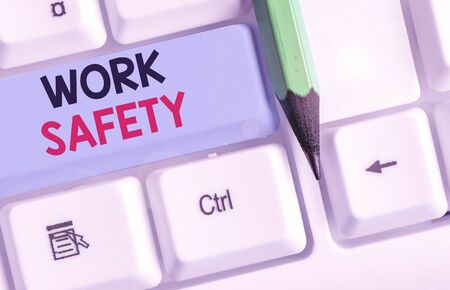 Conceptual hand writing showing Work Safety. Concept meaning policies and procedures in place to ensure safety in workplace