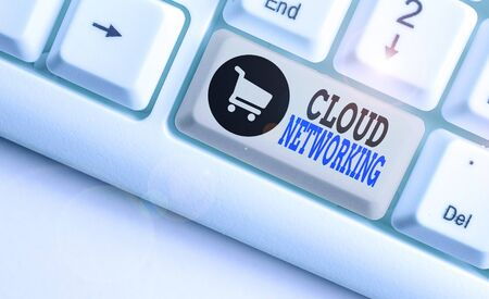 Text sign showing Cloud Networking. Business photo showcasing sourcing and utilization of one or more network resources