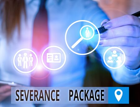 Text sign showing Severance Package. Business photo text pay and benefits employees receive when leaving employment