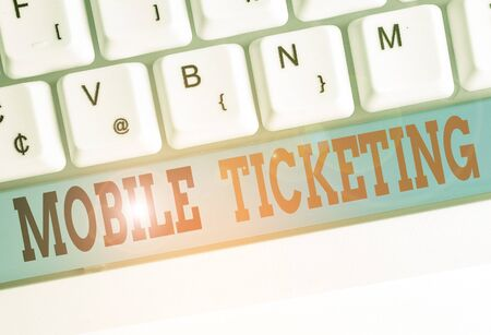 Text sign showing Mobile Ticketing. Business photo text tickets arrive as a text message with a special barcode Standard-Bild