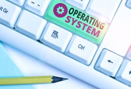 Word writing text Operating System. Business photo showcasing software that supports a computer s is basic functions Standard-Bild