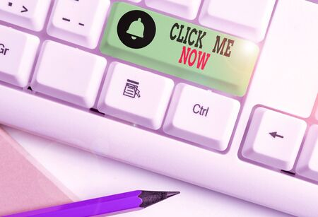 Handwriting text writing Click Me Now. Conceptual photo Internet helping desk Press the button Online Icon Nertwork
