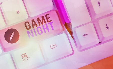 Writing note showing Game Night. Business concept for event in which folks get together for the purpose of getting laid