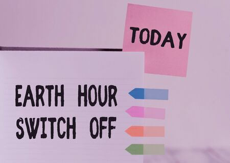 Word writing text Earth Hour Switch Off. Business photo showcasing The Lights Out Event Annual Movement Planet Day Hard cover note book sticky note arrow banners inserted clear background Stock Photo - 135309399