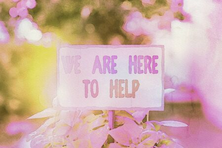 Text sign showing We Are Here To Help. Business photo text Someone who is always ready to Assist Support Give Plain empty paper attached to a stick and placed in the green leafy plants