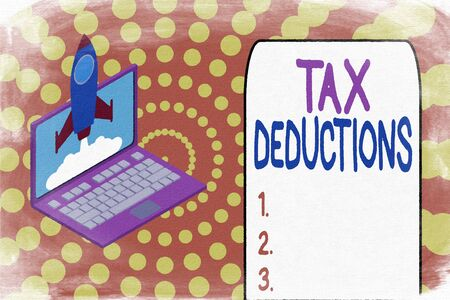 Word writing text Tax Deductions. Business photo showcasing an amount or cost that subtracted from someone s is income Rocket launching clouds laptop background. Startup project growing. SEO Stock fotó