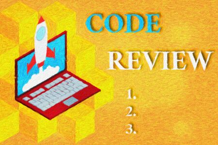 Word writing text Code Review. Business photo showcasing single most effective technique for identifying security flaws Rocket launching clouds laptop background. Startup project growing. SEO