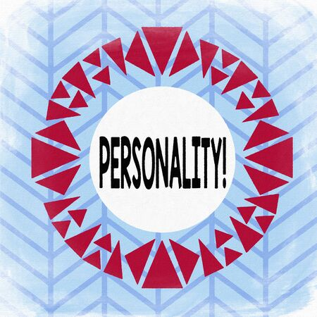 Text sign showing Personality. Business photo showcasing combination characteristics that form individuals character Asymmetrical uneven shaped format pattern object outline multicolour design Zdjęcie Seryjne