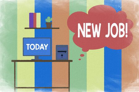 Text sign showing New Job. Business photo showcasing recently having paid position of regular employment Desktop computer wooden table background shelf books flower pot ornaments