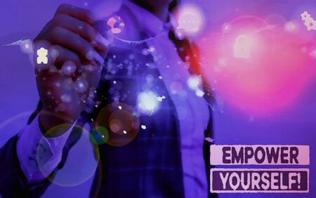 Writing note showing Empower Yourself. Business concept for taking control of our life setting goals and making choices Picture photo network scheme with modern smart device Zdjęcie Seryjne