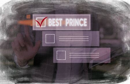 Conceptual hand writing showing Best Prince. Concept meaning the male royal ruler of a small country Son of the king or queen