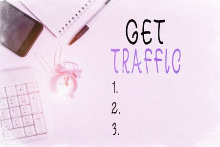 Conceptual hand writing showing Get Traffic. Concept meaning amount of data sent and received by visitors to a website Business concept with space for advertising and text message Stock Photo - 135310570