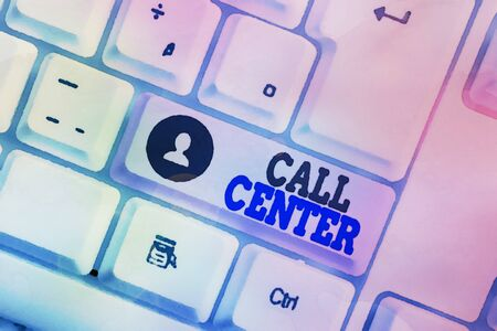 Conceptual hand writing showing Call Center. Concept meaning an office in which large numbers of telephone calls are handled White pc keyboard with note paper above the white background Stock fotó