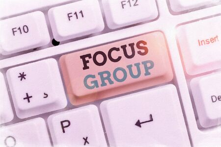 Text sign showing Focus Group. Business photo showcasing showing assembled to participate in discussion about something Stock fotó